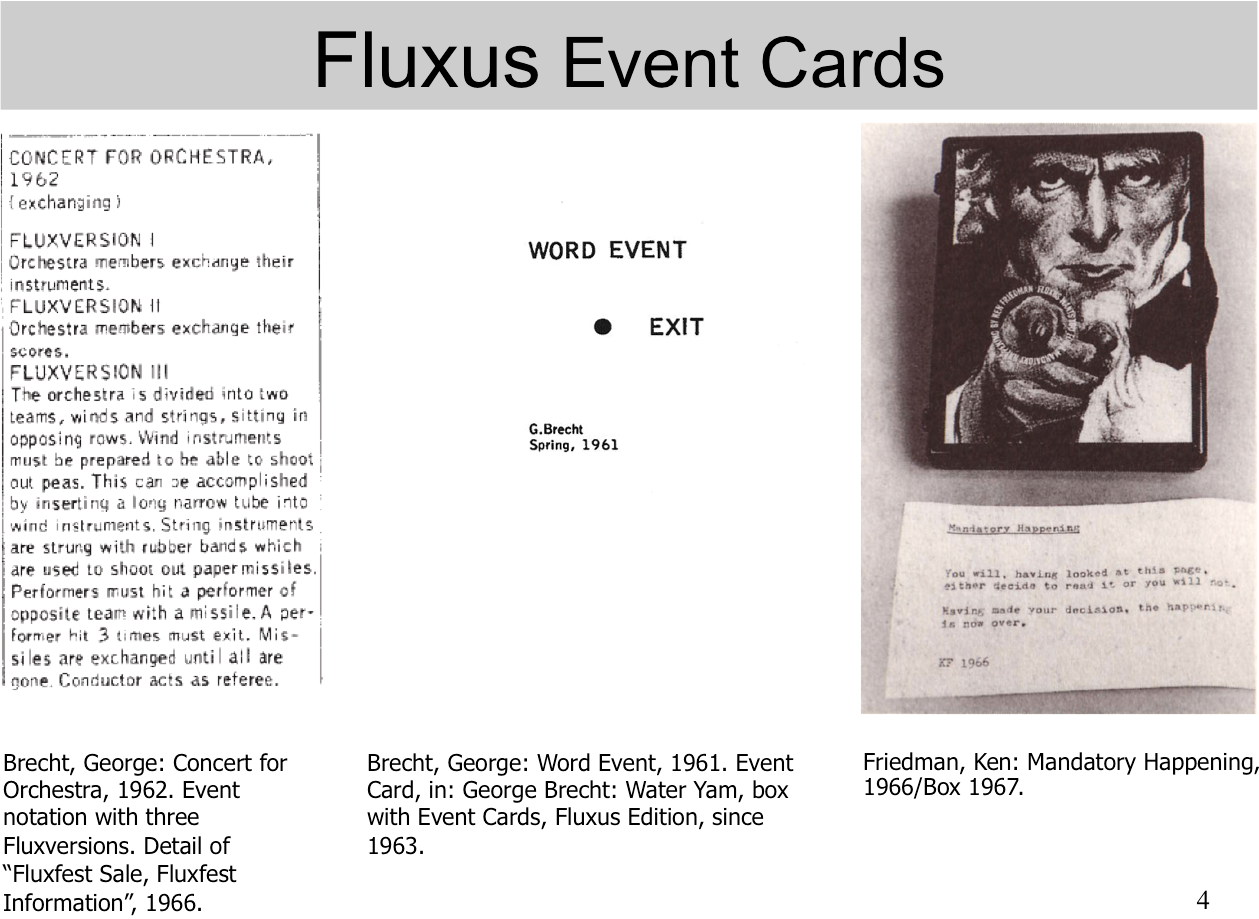 Fluxus Event Cards